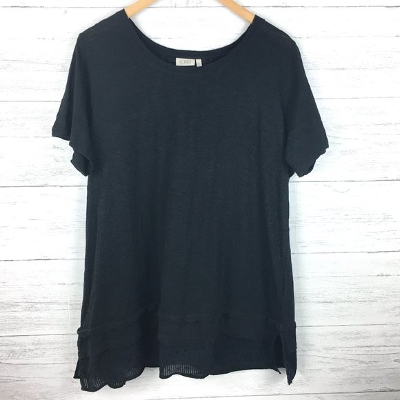 LOGO Lori Goldstein Black Short Sleeve Tunic Top